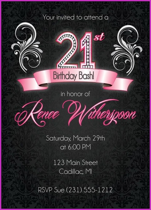21st Birthday Invitation Templates Free Printable