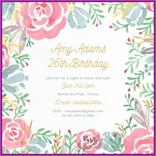 26th Birthday Invitation Templates