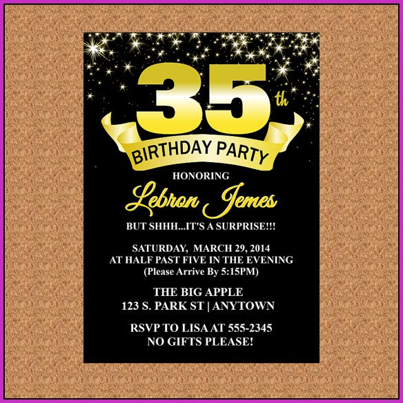 35th Birthday Invitation Templates