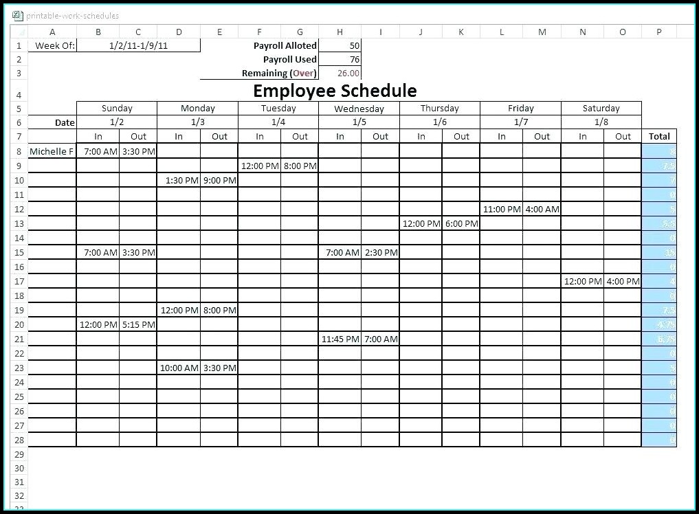 6 Week Rotating Schedule Template