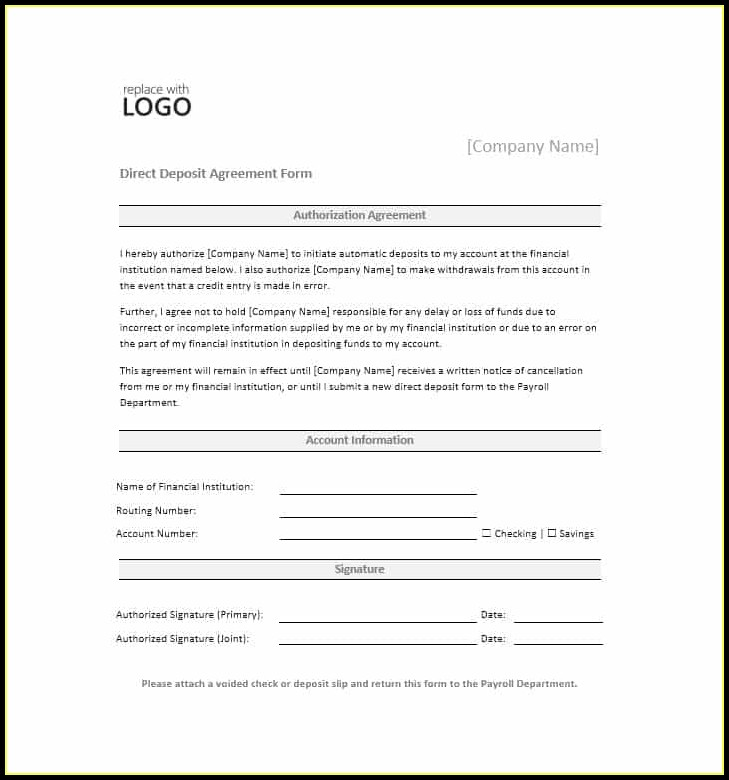 Ach Deposit Form Template