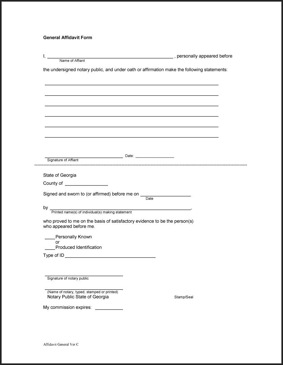Affidavit Template For Word