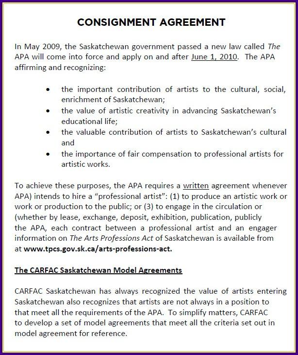 Art Consignment Agreement Template