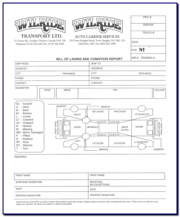 Auto Bill Of Lading Template