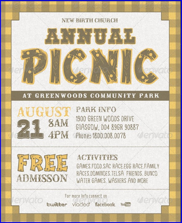 Bbq Picnic Invitation Template