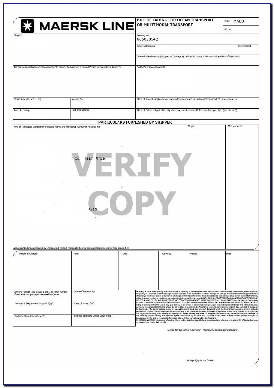 Bill Of Lading Form Definition