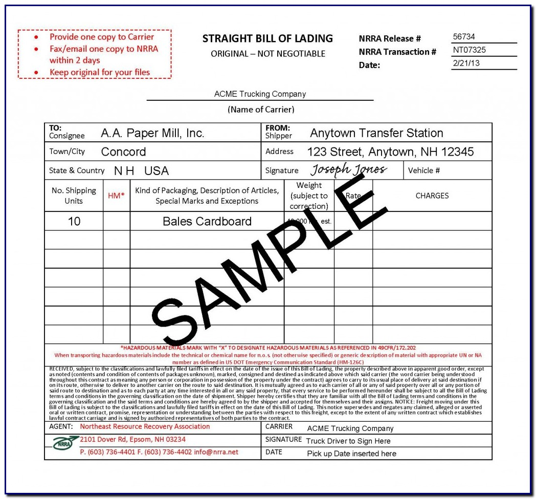 Bill Of Lading Form Example