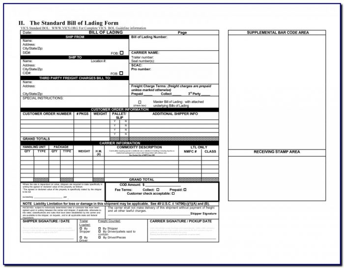 8 Best Of Master Bill Lading Form Straight Template