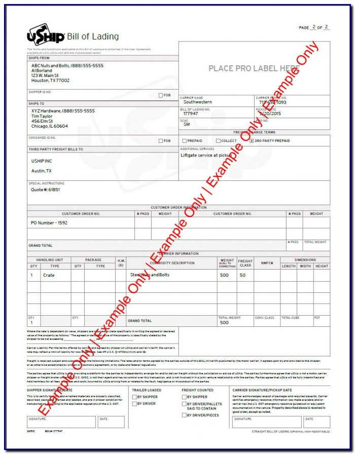 Bill Of Lading Form Old Dominion