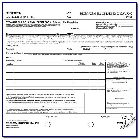 Bill Of Lading Form Staples