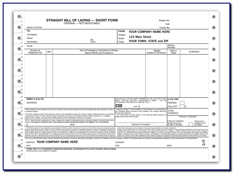 Bill Of Lading Form Trucking