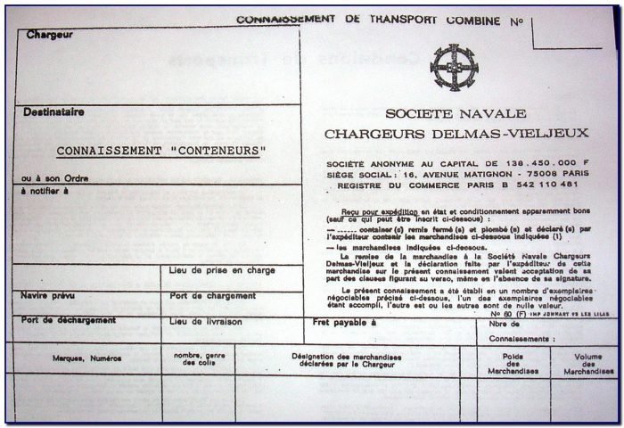 Bill Of Lading Form Wiki
