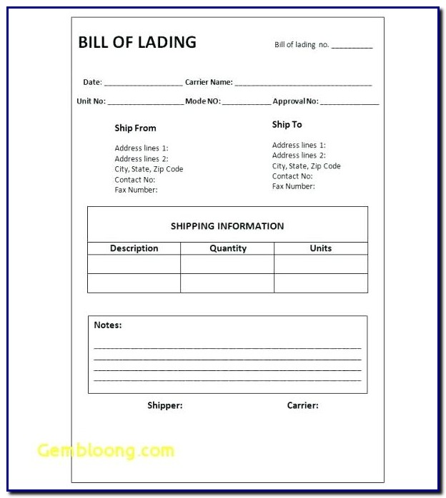 Bill Of Lading Format Word Document