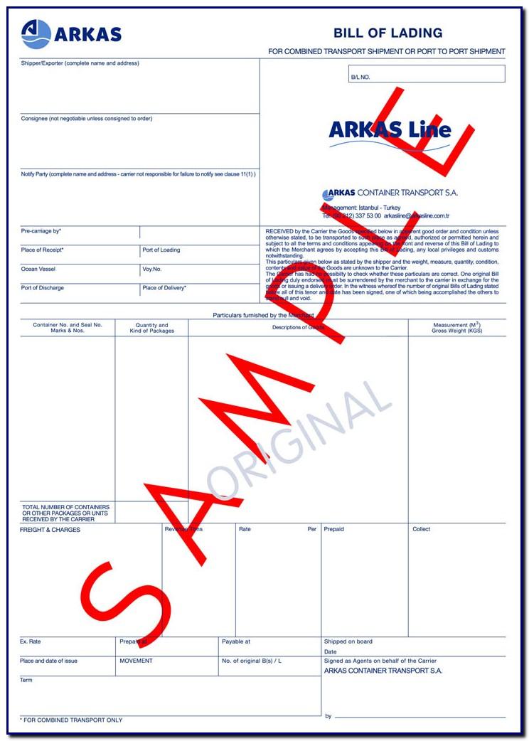 Bill Of Lading Plural Form