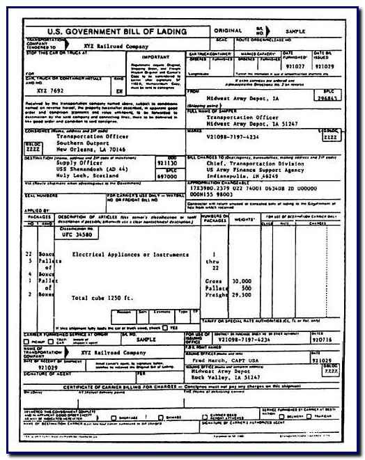 Bill Of Lading Standard Form