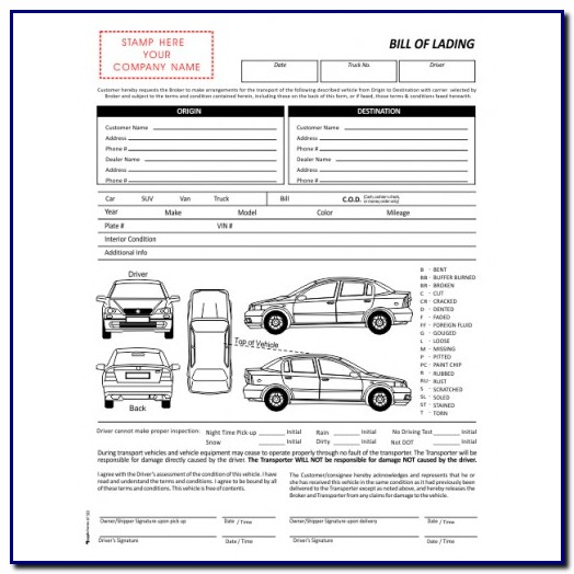 Bill Of Lading Template For Auto Transport