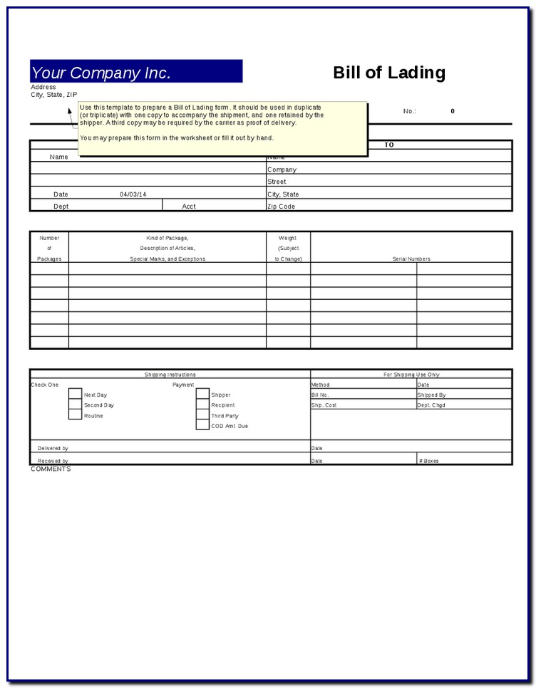 Bill Of Lading Template For Excel