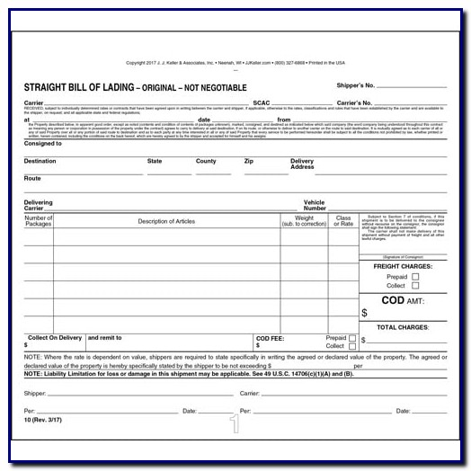 Bill Of Lading Template For Trucking