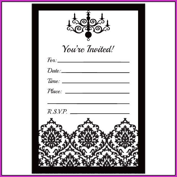Birthday Invitation Templates Black And White