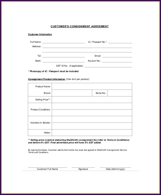 Book Consignment Agreement Template
