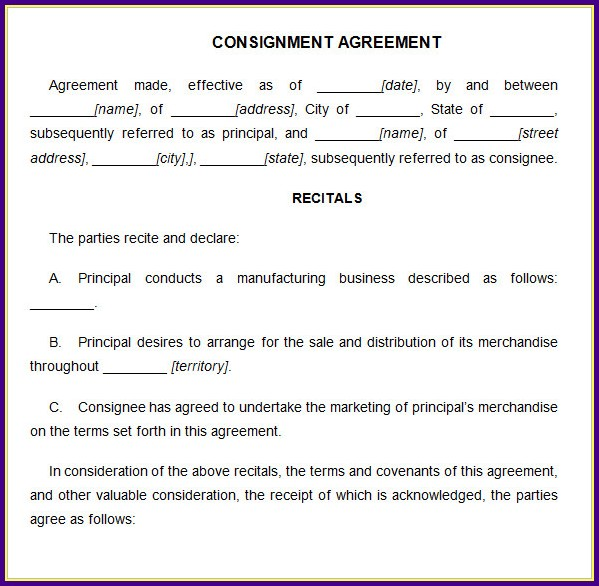 Consignment Contracts Template
