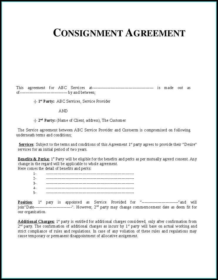 Consignment Shop Contract Template