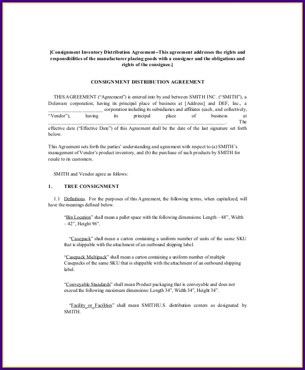 Consignment Stock Agreement Template