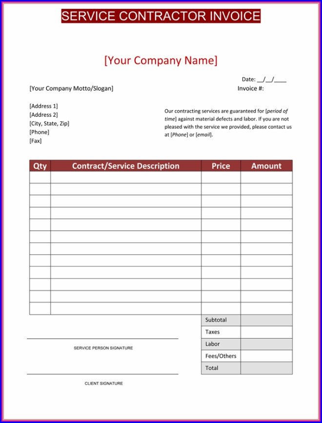 Contractor Invoice Template Free
