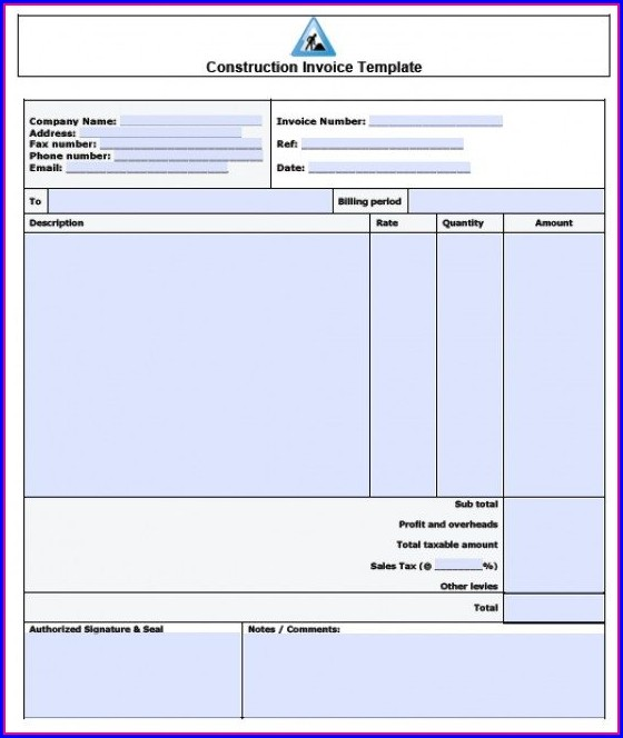 Contractor Invoice Templates Word