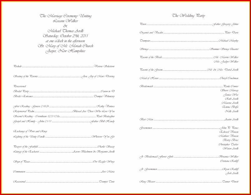 Free Blank Wedding Program Templates