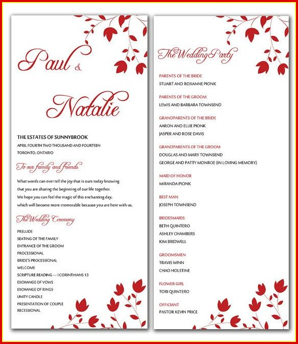 Free Downloadable Wedding Program Templates Microsoft Word