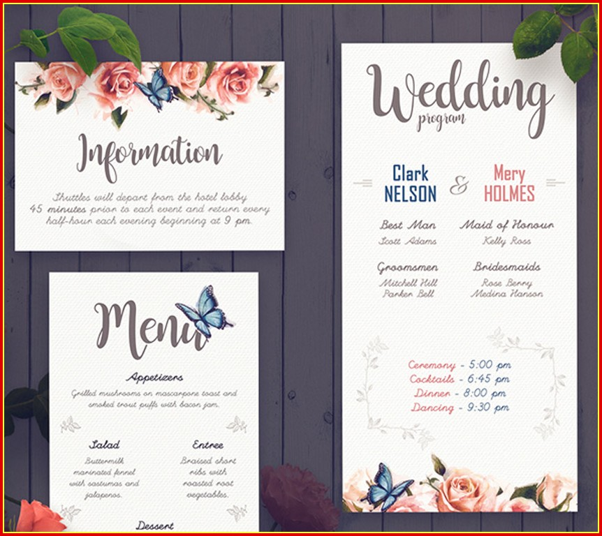 Free Elegant Wedding Program Templates