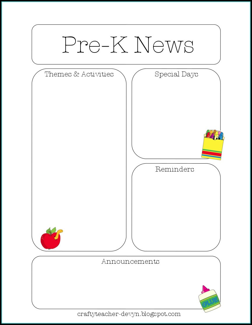 Free Preschool January Newsletter Templates