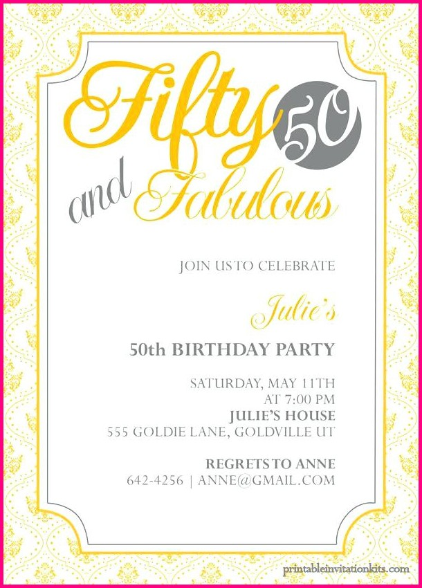Free Printable 50th Birthday Invitation Templates