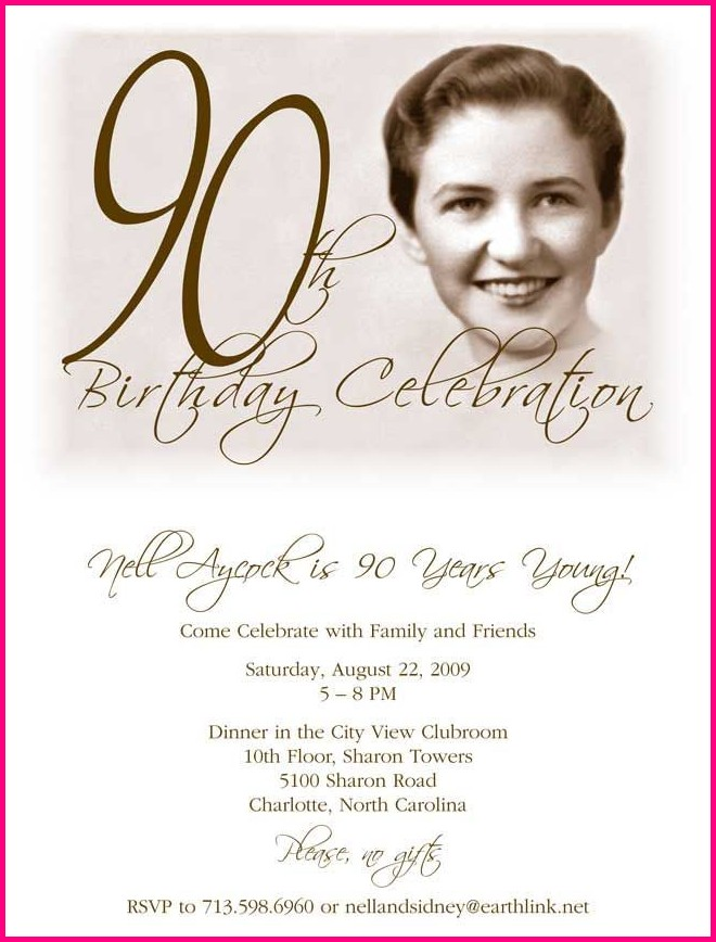 Free Printable 90th Birthday Invitation Templates