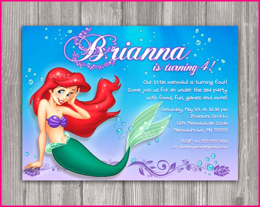 Free Printable Little Mermaid Birthday Invitation Templates