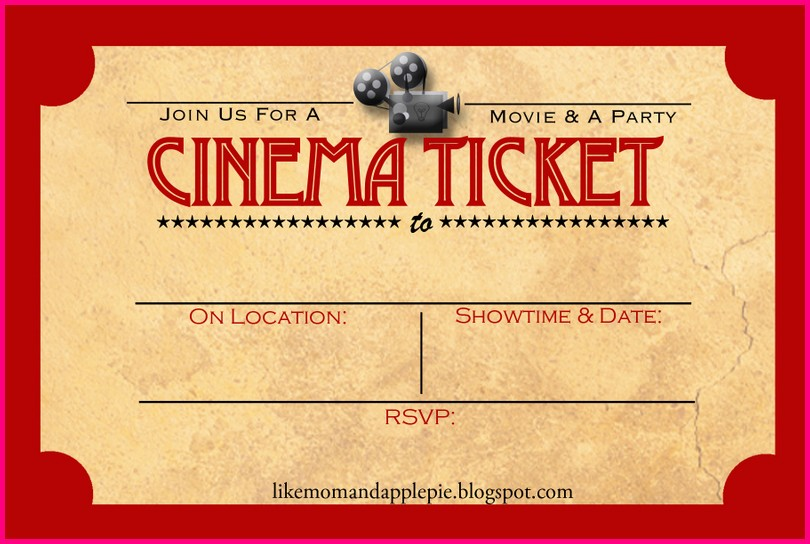 Free Printable Movie Ticket Invitation Templates