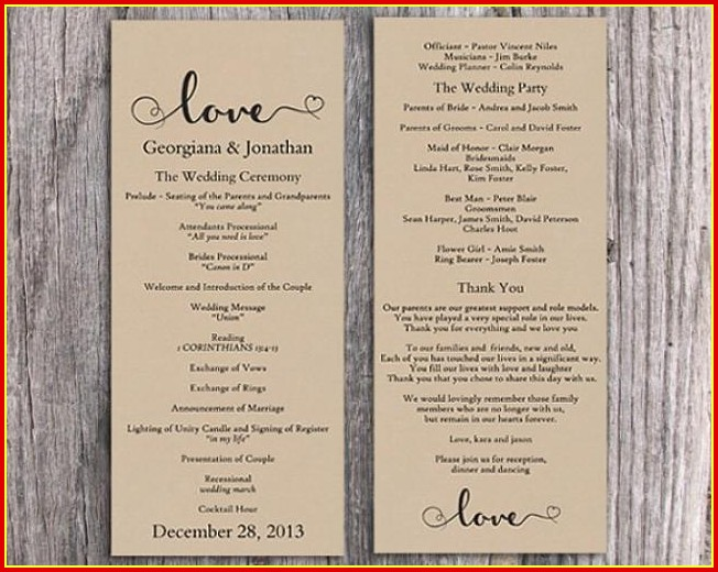 Free Printable Wedding Program Templates Word