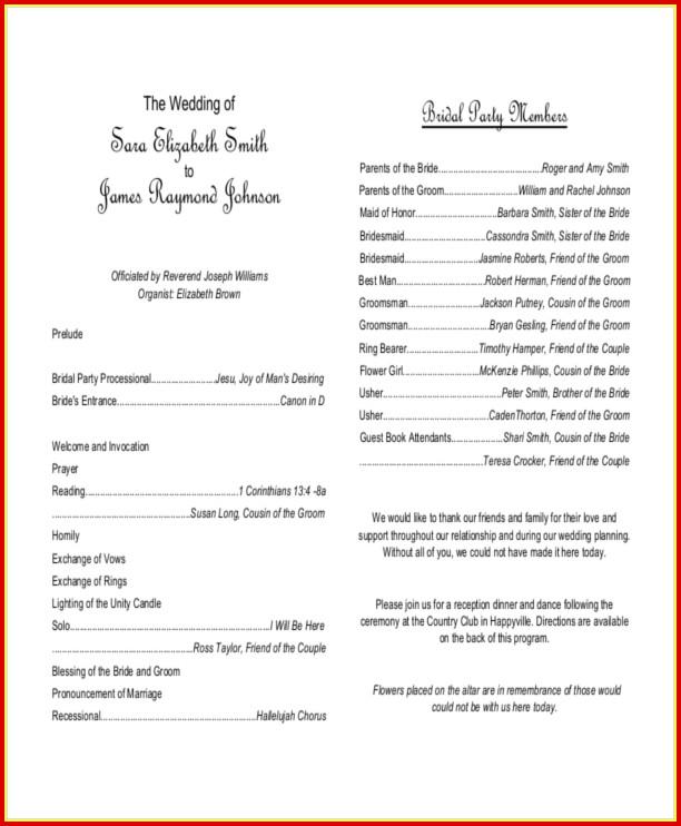 Free Sample Of Wedding Program Templates