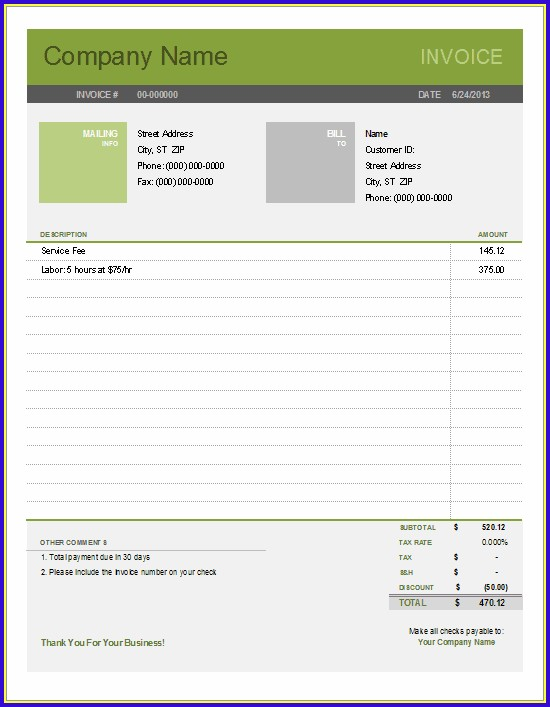 Free Simple Invoice Template For Word