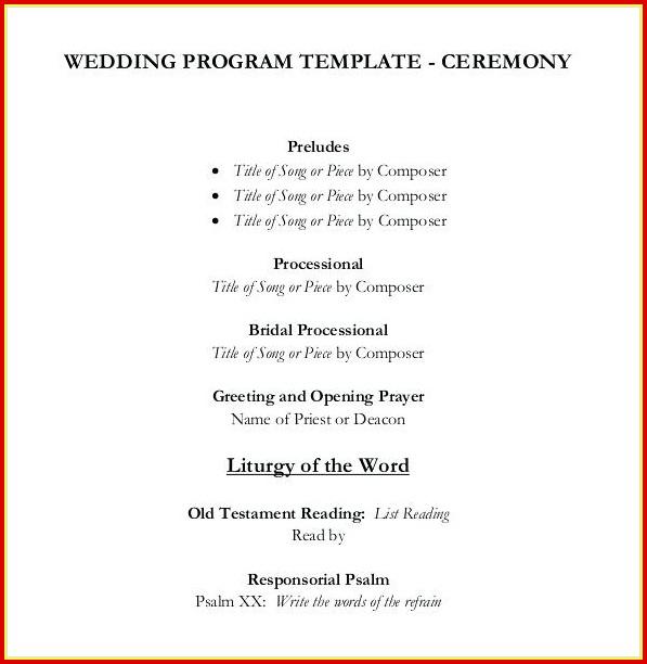 Free Simple Wedding Program Templates