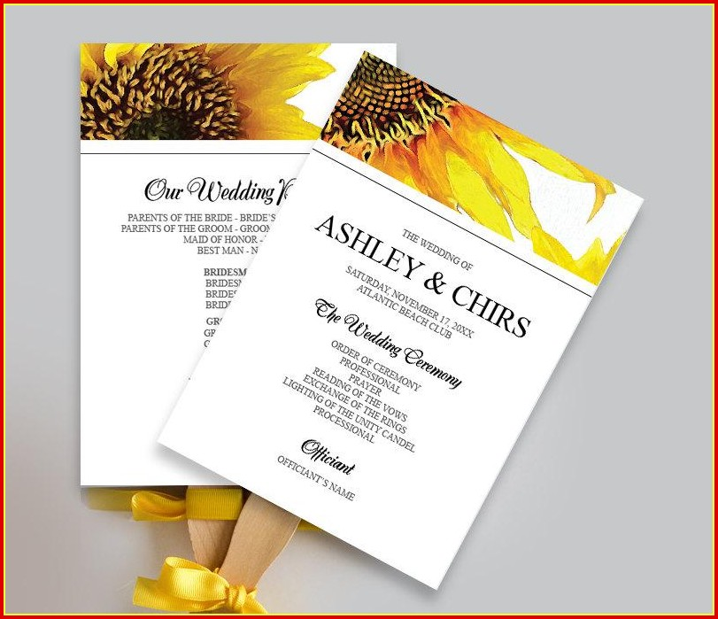 Free Sunflower Wedding Program Templates