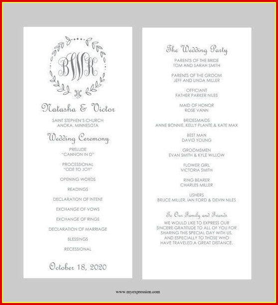 Free Wedding Ceremony Program Templates