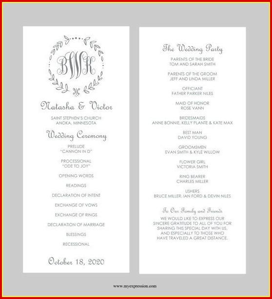 Free Wedding Ceremony Program Templates