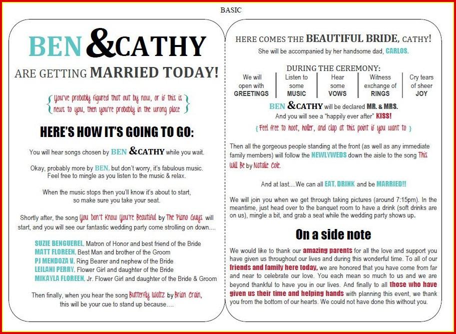 Free Wedding Program Samples Templates
