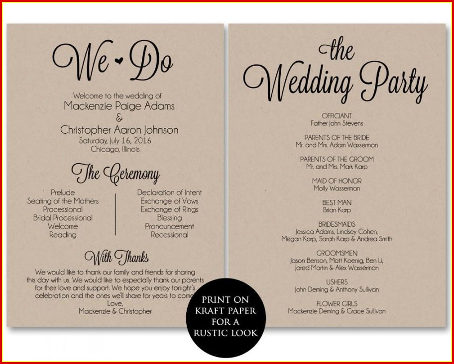 Free Wedding Program Templates Pdf