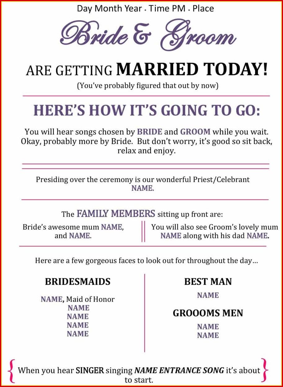Free Wedding Program Templates Printable