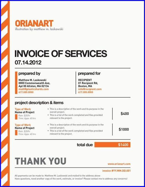 Freelance Design Invoice Template