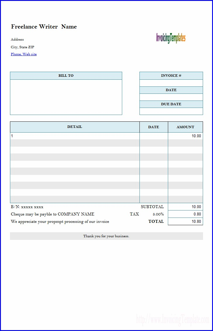 Freelance Interpreter Invoice Template