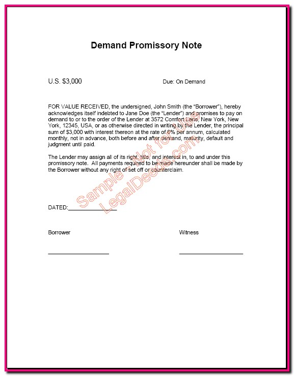 Google Promissory Note Template